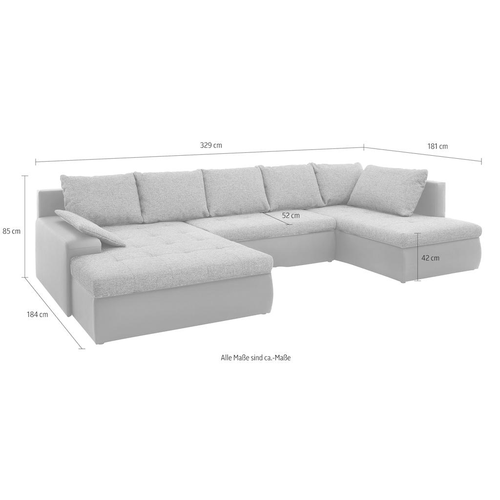 sit&more Wohnlandschaft, wahlweise in XL oder XXL, inklusive Bettfunktion und Bettkasten, frei im Raum stellbar