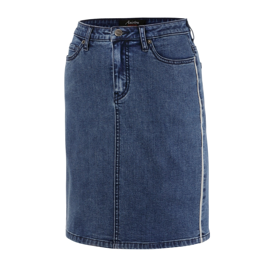 Aniston CASUAL Jeansrock, mit trendigen Galonstreifen