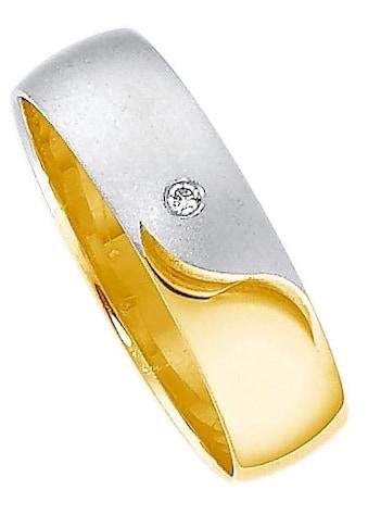 Firetti Trauring mit Gravur »glanz, matt, Diamantschnitt, bicolor, 5,0 mm breit«, Made in Germany, wahlweise mit oder ohne Brillant kaufen