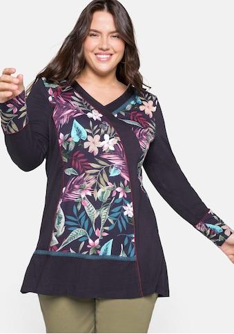 sheego by Joe Browns Longshirt, in Patch-Optik und mit Blumendruck kaufen
