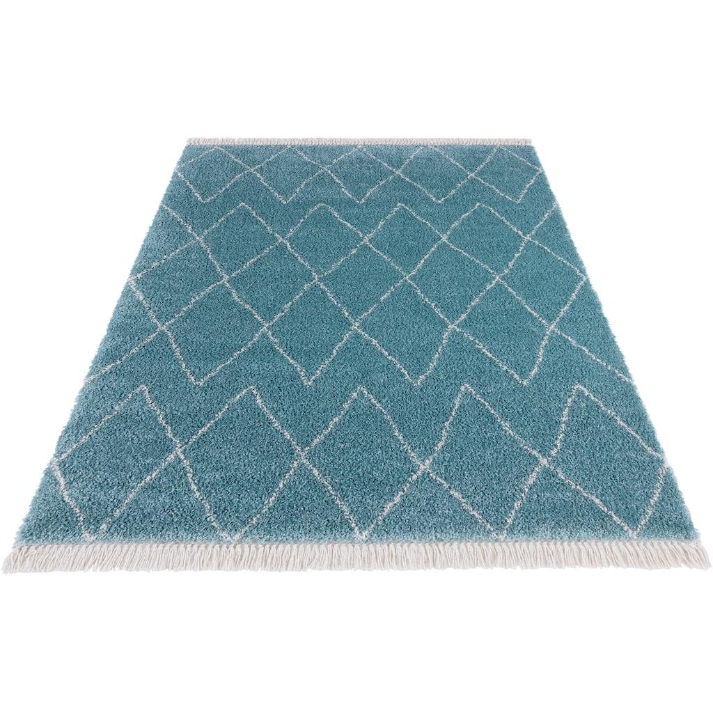 MINT RUGS Hochflor-Teppich »Jade«, rechteckig, 35 mm Höhe, pastell Farben mit Fransen, Wohnzimmer