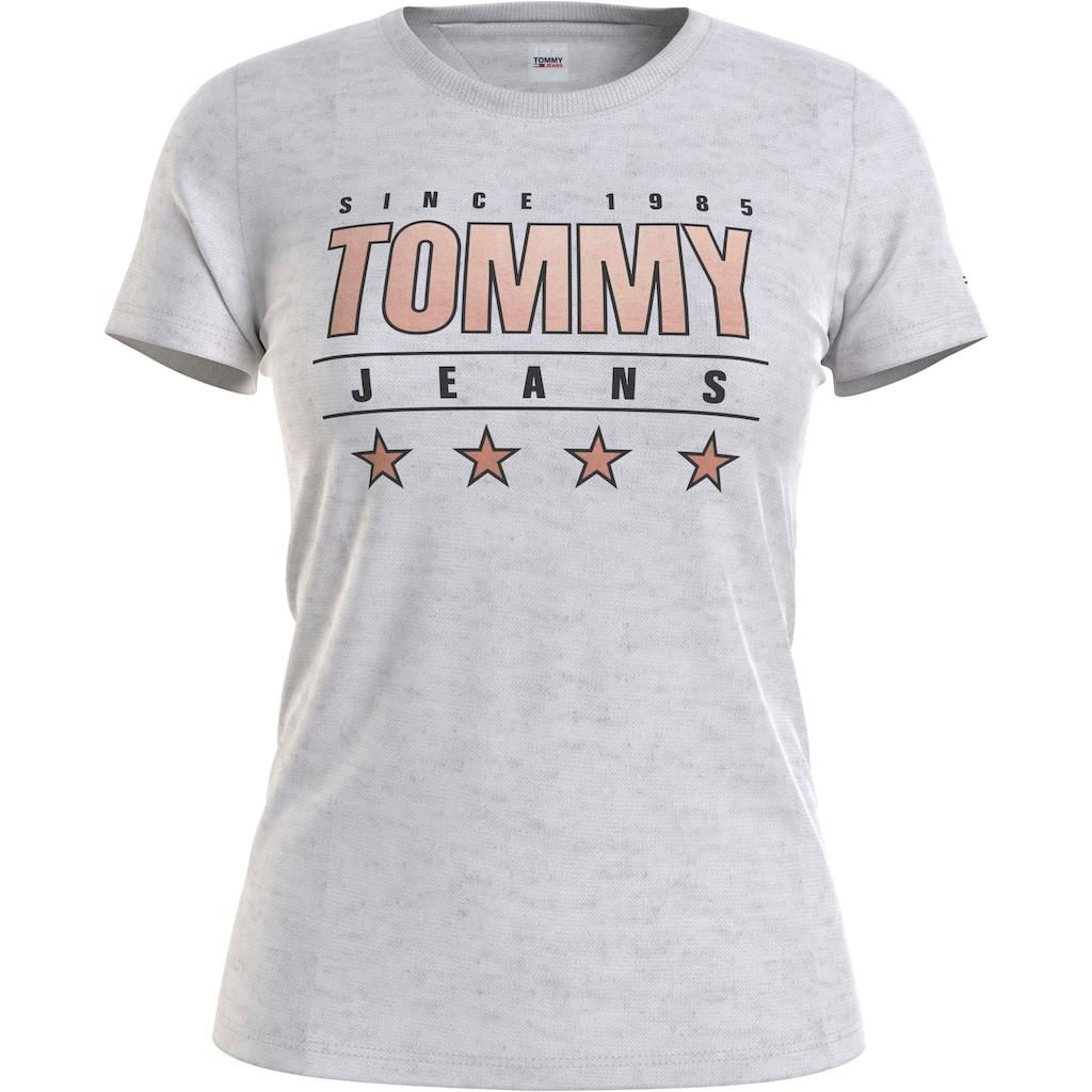 Tommy Jeans Rundhalsshirt »TJW SLIM METALLIC TOMMY TEE«, mit metalicfarbenen Tommy Jeans Logo-Print