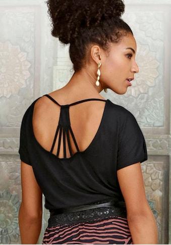 LASCANA Kurzarmshirt, mit Bänderdetails hinten kaufen