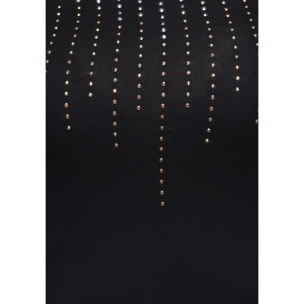 Melrose Rundhalsshirt, mit dekorativen Glitzersteinen
