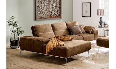 W.SCHILLIG Ecksofa »run«, mit elegantem Holzsockel, Füße in Silber matt, Breite 299 cm kaufen