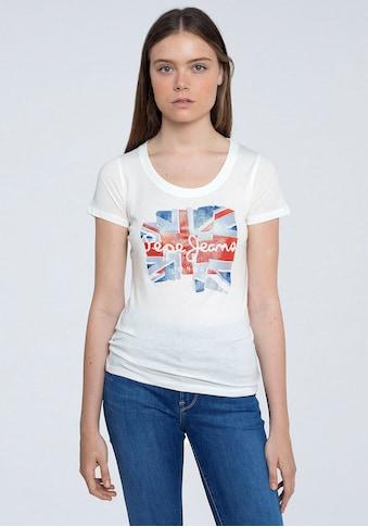 Pepe Jeans Kurzarmshirt »BLAZE«, mit großem Flaggen Frontprint mit Marken-Logo kaufen