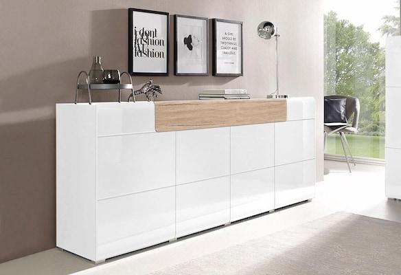 weißes Sideboard mit Holzelement
