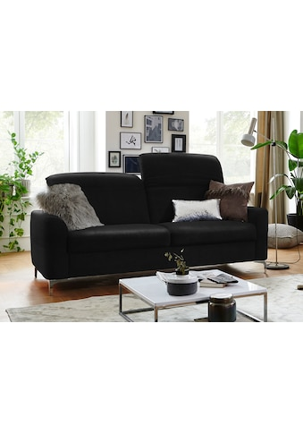 Places of Style 2,5-Sitzer »Benicia«, mit manueller Kopfteilverstellung und klappbaren Armlehnen, auch in Naturleder, Bezug Struktur weich mit Wasser zu reinigen kaufen