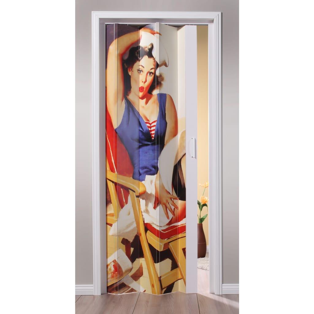 Falttür »St. Tropez«, BxH: 88,5x202 cm, Weiß mit Motivdruck