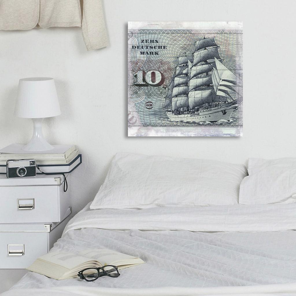 queence Holzbild »Schiff auf Deutscher Mark«, 40x40 cm