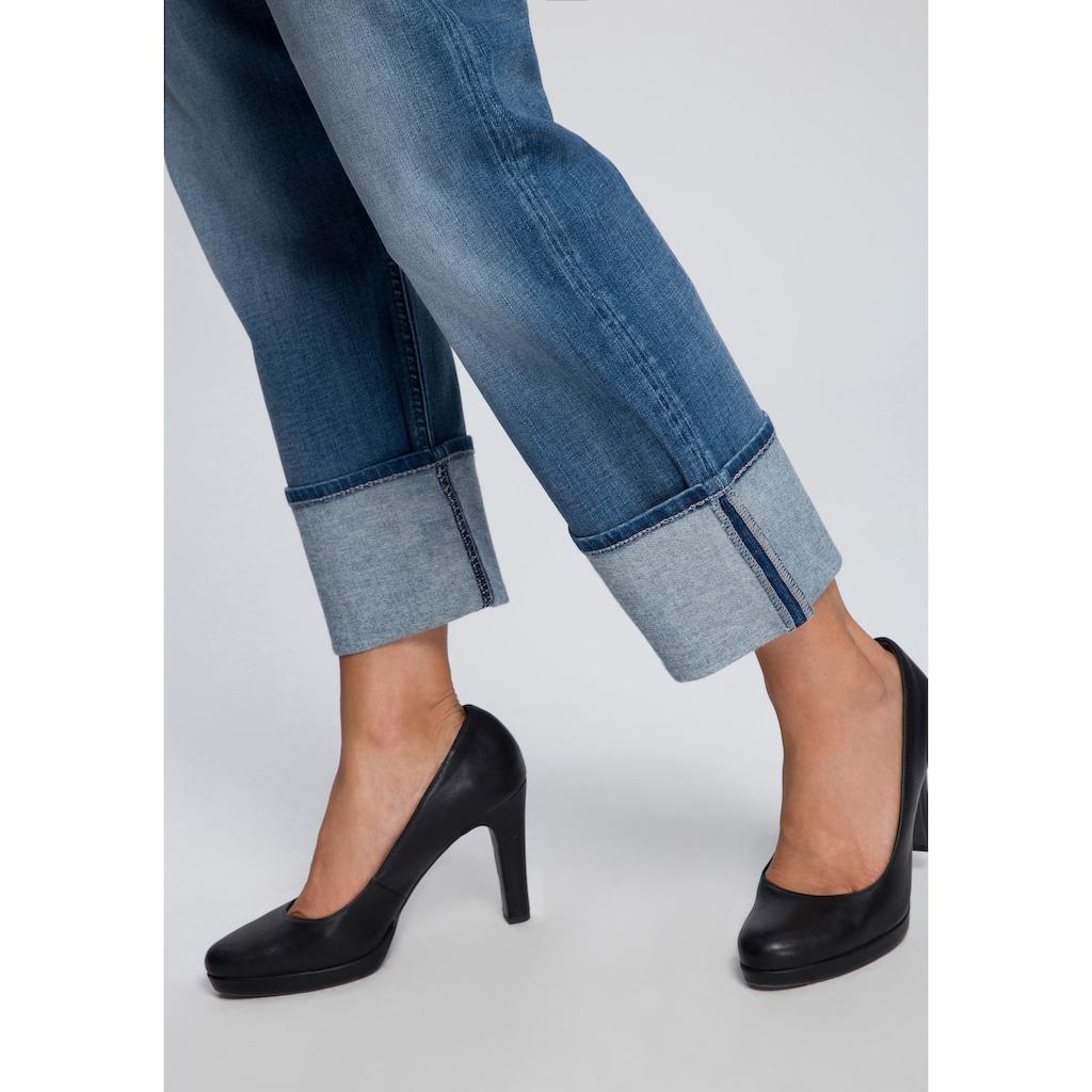 MAC Ankle-Jeans »Rich Straight«, Hinten etwas höher geschnitten mit formgebendem Einsatz
