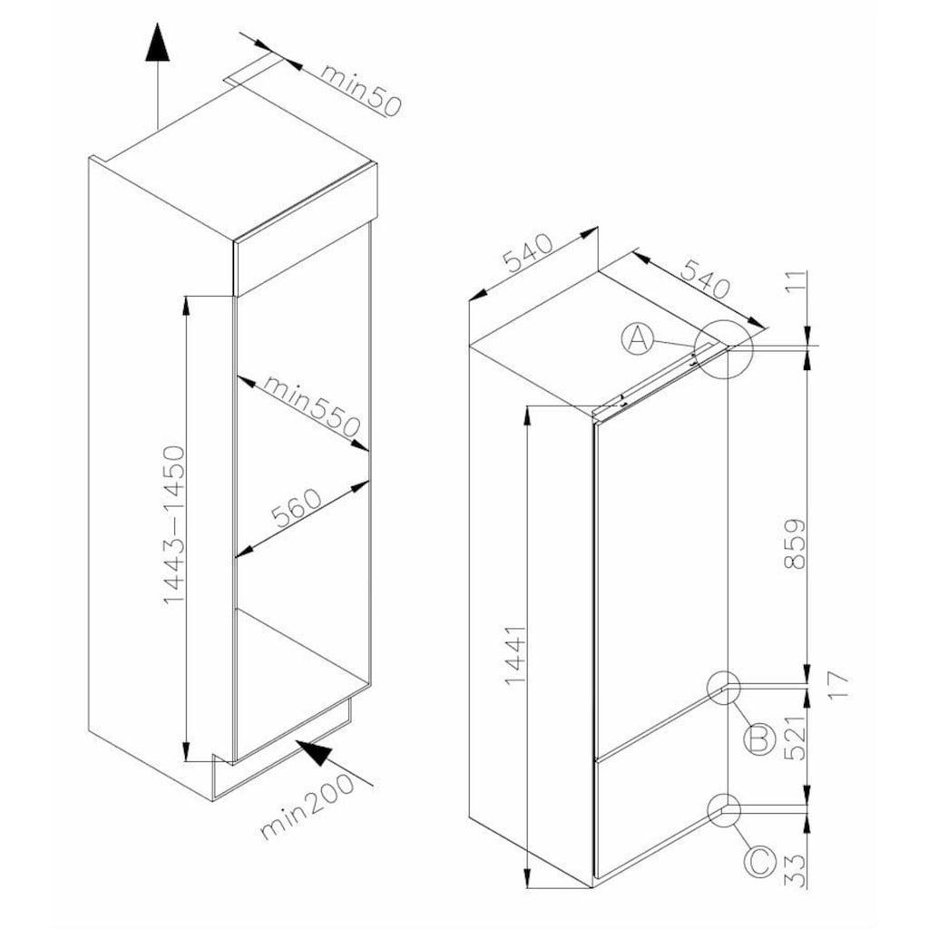 Amica Einbaukühlgefrierkombination, 144 cm hoch