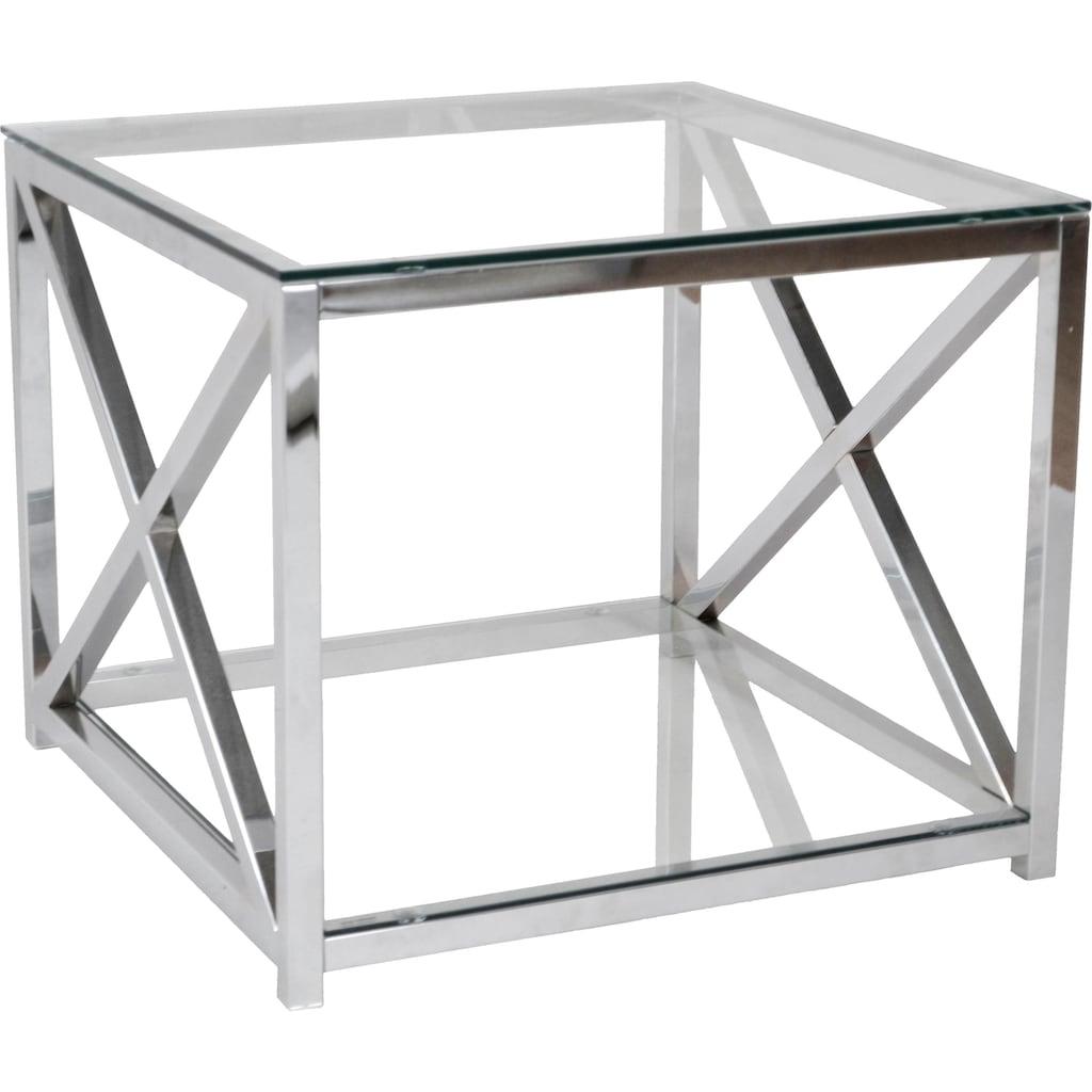 Leonique Beistelltisch »Darienne«, mit Sicherheits-Klarglasplatten und verchromtem Metallgestell