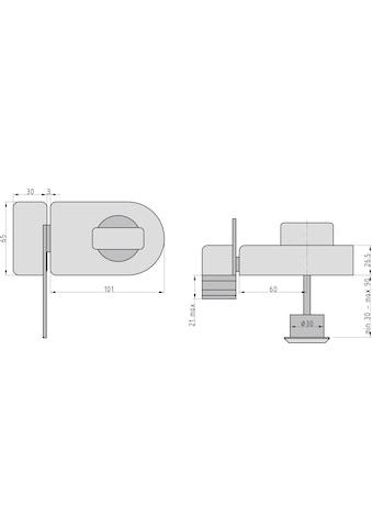 BASI Kastenriegelschloss »KS 500«, Dornmaß 60 mm - weiß (abgerundet), Sperrbügel kaufen