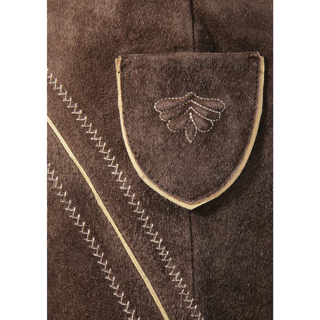 Country Line Trachtenlederhose, (2 tlg., mit Hosenträgern), 3/4 lang Herren mit weitenregulierbarem Bund