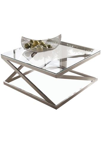 Leonique Couchtisch »Coylin«, rechteckiges Metallgestell mit einem Ablageboden aus Glas kaufen