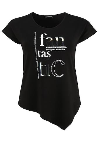 Doris Streich Rundhalsshirt »mit asymmetrischem Saum«, und Wording kaufen