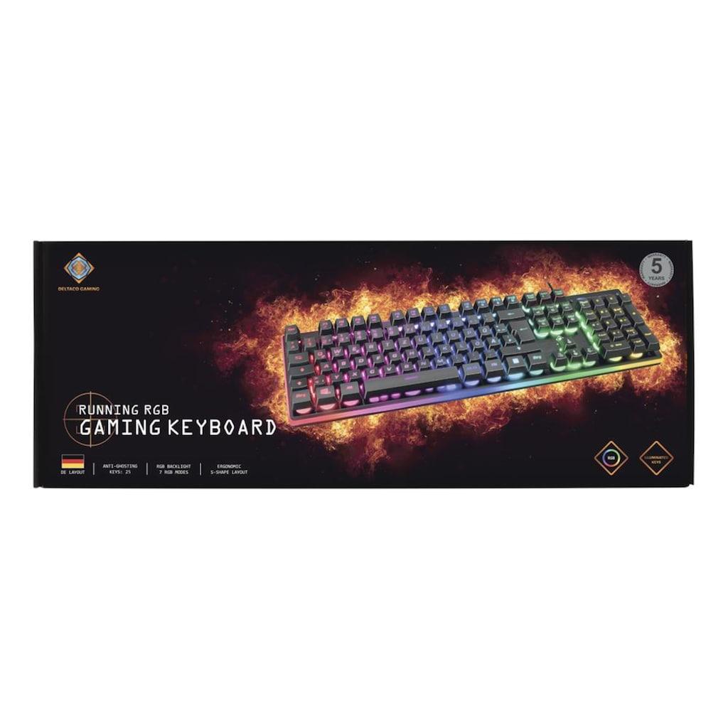 DELTACO Tastatur »Gaming Tastatur«, (ergonomische Form), Keyboard, RGB LED, USB, Gaming Spieler, Zubehör