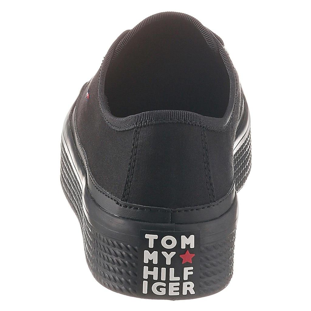 TOMMY HILFIGER Plateausneaker »CORPORATE FLATFORM SNEAKER«, mit hoher Gummiplateausohle