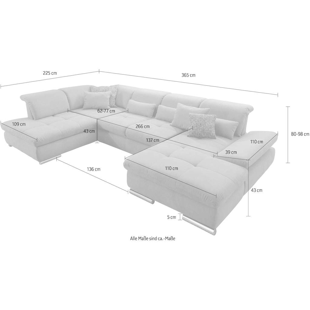 set one by Musterring Wohnlandschaft »SO4100«, Ottomane wahlweise links oder rechts bestellbar, wahlweise mit Bettfunktion