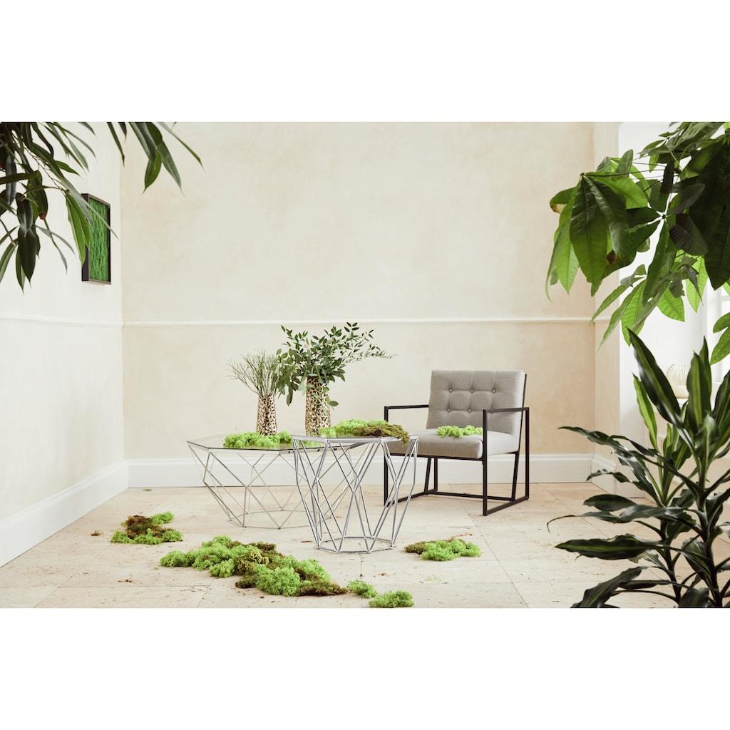 Guido Maria Kretschmer Home&Living Beistelltisch »Caen«, mit Glasplatte und Metall, Breite 60 cm