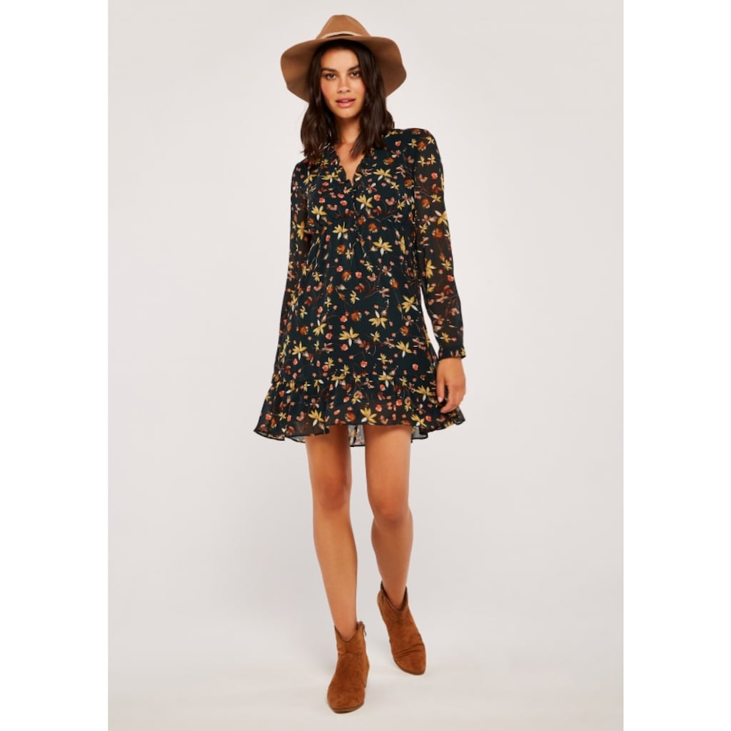 Apricot Druckkleid »Autumn Floral Chiffon Dress«, mit Rüschen
