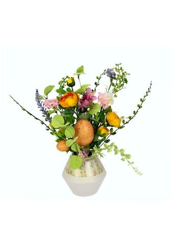 I.GE.A. Kunstblume »Mixed-Arrangement mit Ei«, Vase aus Keramik kaufen
