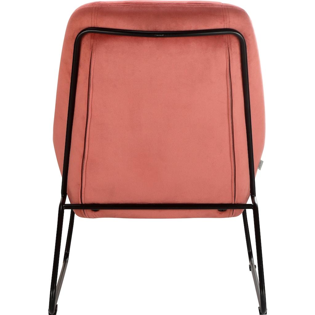 andas Sessel »Casero«, mit einem schönen pflegeleichtem Samtvelours Bezug und schwarzen Metallbeinen, Sitzhöhe 42 cm