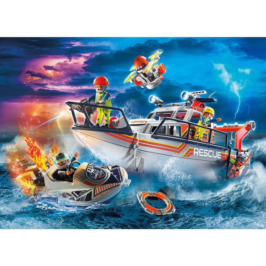 Playmobil® Konstruktions-Spielset »Seenot: Löscheinsatz mit Rettungskreuzer (70140), City Action«, (95 St.), Made in Europe