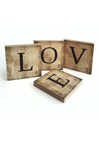 Wall-Art Mehrteilige Bilder »Scrabble Deko Buchstaben Love«, (Set, 4 St.) kaufen