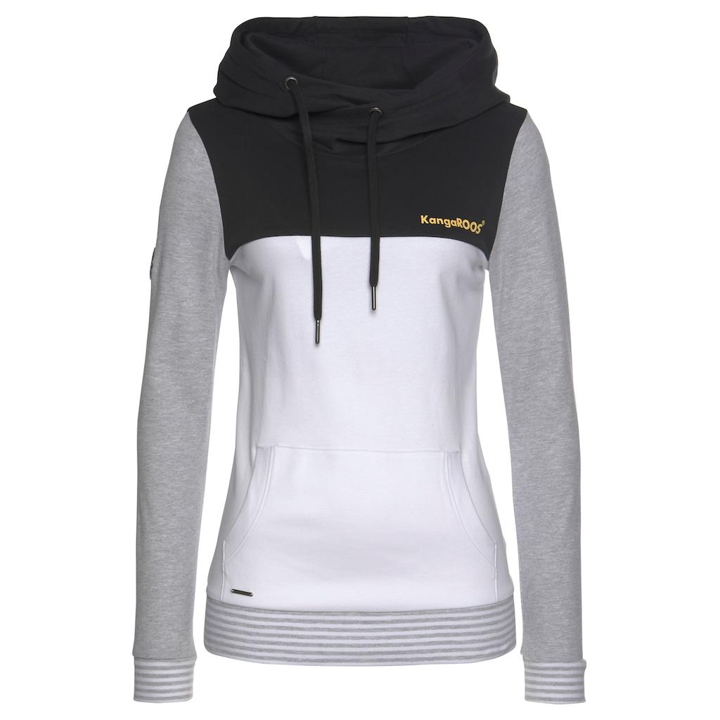 KangaROOS Kapuzensweatshirt, mit modischer Kombination aus Color-Blocking und Streifen