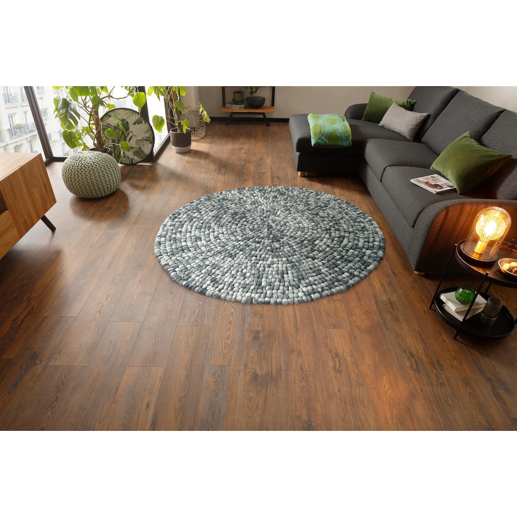 Home affaire Wollteppich »Maja«, rund, 22 mm Höhe, reine Wolle, Filzkugel-Teppich, Wohnzimmer