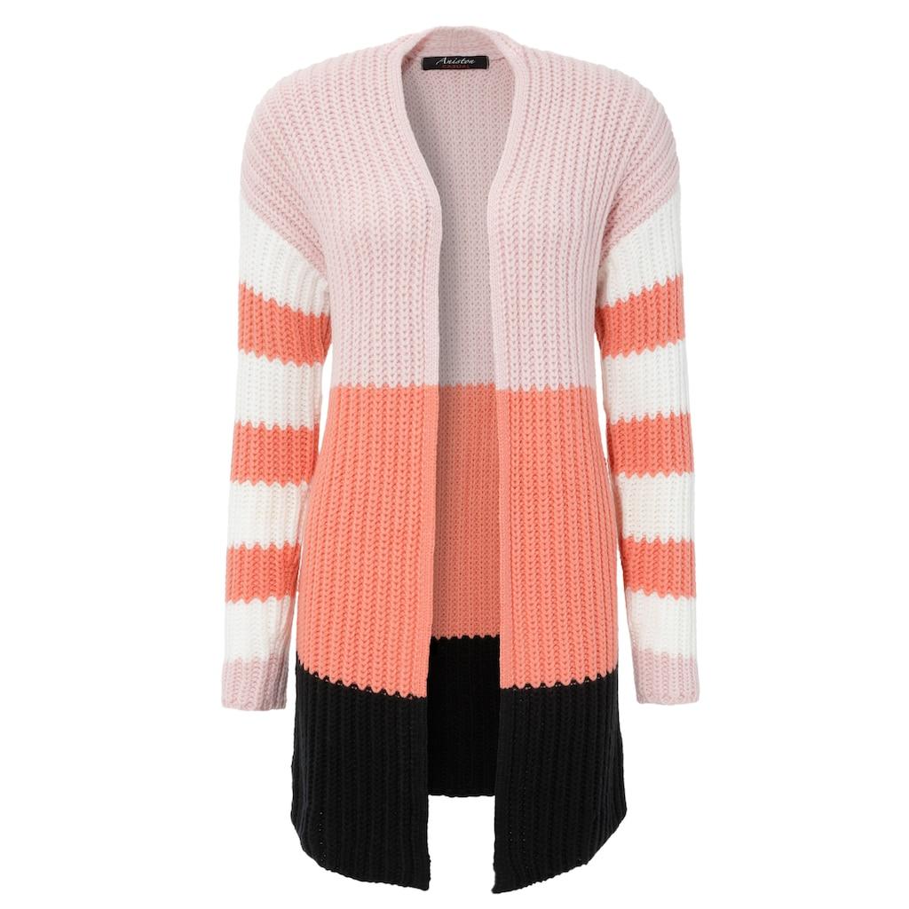 Aniston CASUAL Strickjacke, im trendigen Colorblocking - NEUE KOLLEKTION
