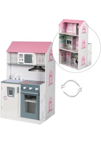 roba® Spielküche »2-in-1, rosa«, mit mehrstöckigem Puppenhaus kaufen