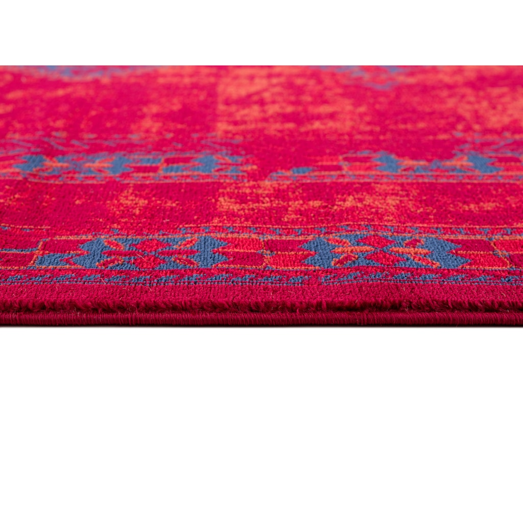 DELAVITA Teppich »Amaya«, rechteckig, 10 mm Höhe, Mt Fransen, Wohnzimmer