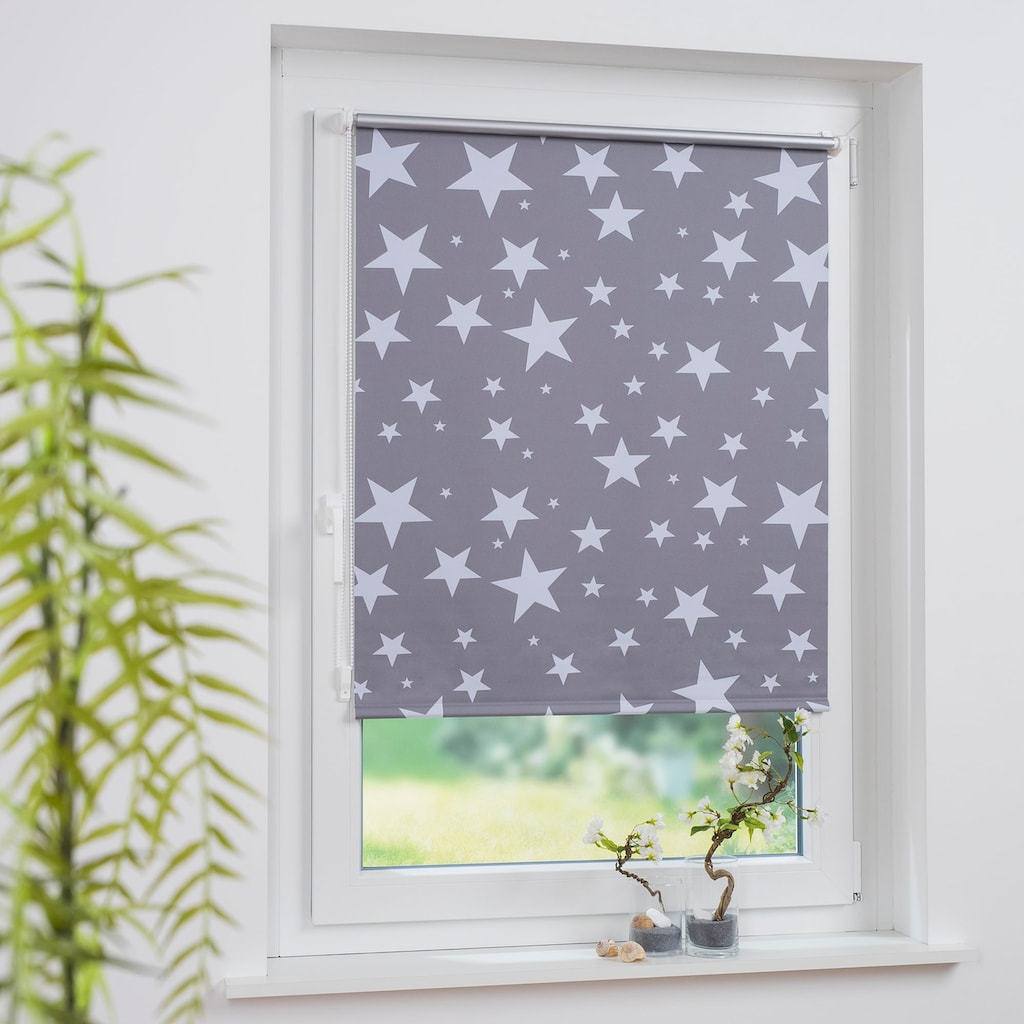Liedeco Seitenzugrollo »Druckdesign Sterne«, verdunkelnd, energiesparend, ohne Bohren, freihängend, Klemmfix Rollo Design Sterne