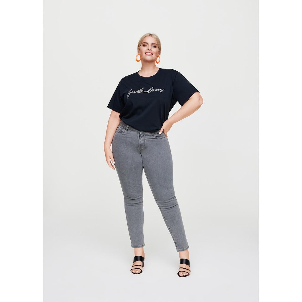 Rock Your Curves by Angelina K. Statement-T-Shirt mit Glitzerstein-Applikation