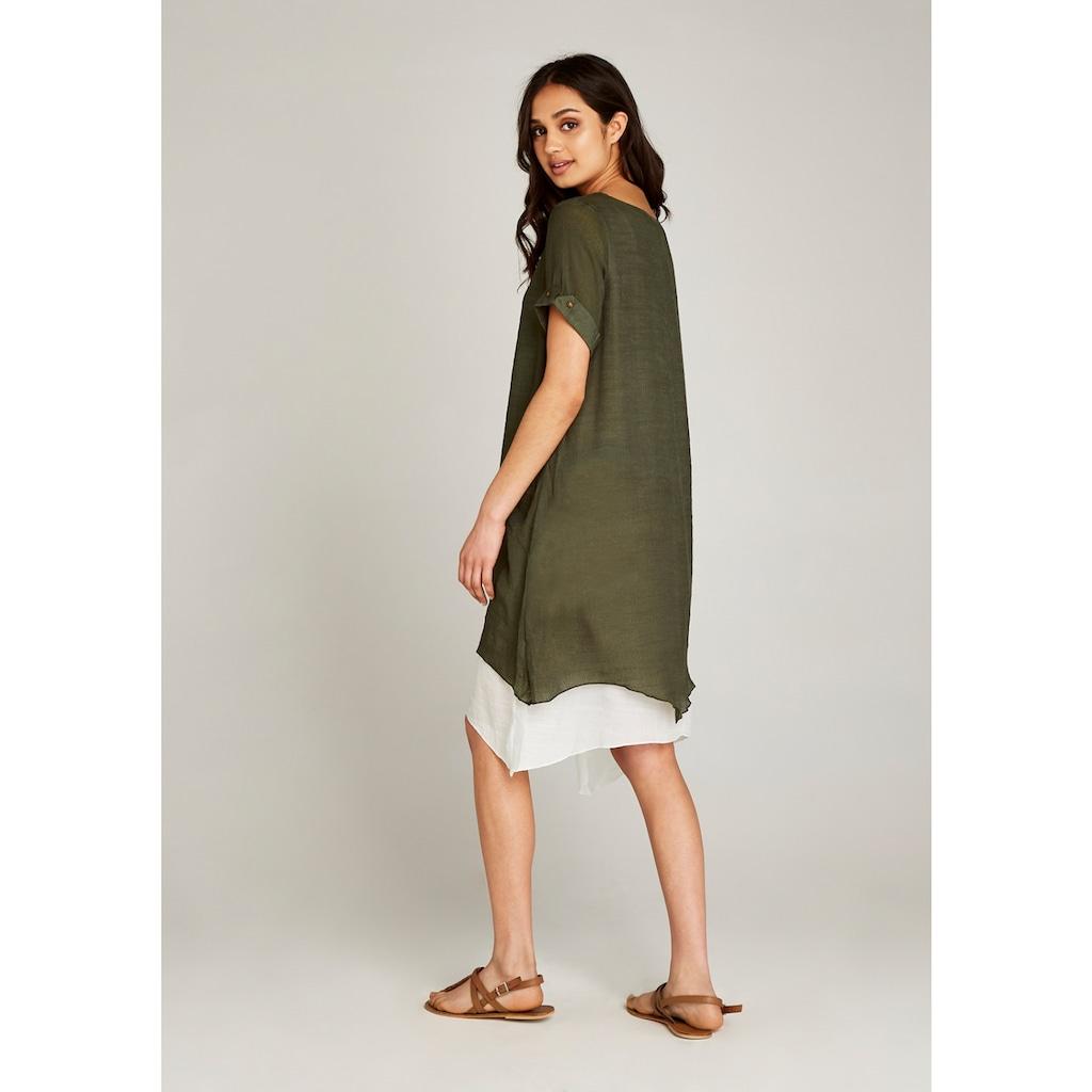 Apricot A-Linien-Kleid »Slub Shimmer Turn Up Slv Dress«, mit Lagenlook