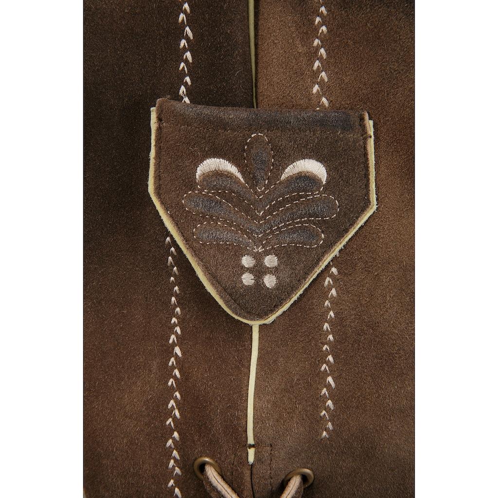 MondKini Trachtenlederhose, (2 tlg., mit Gürtel), mit Stickerei