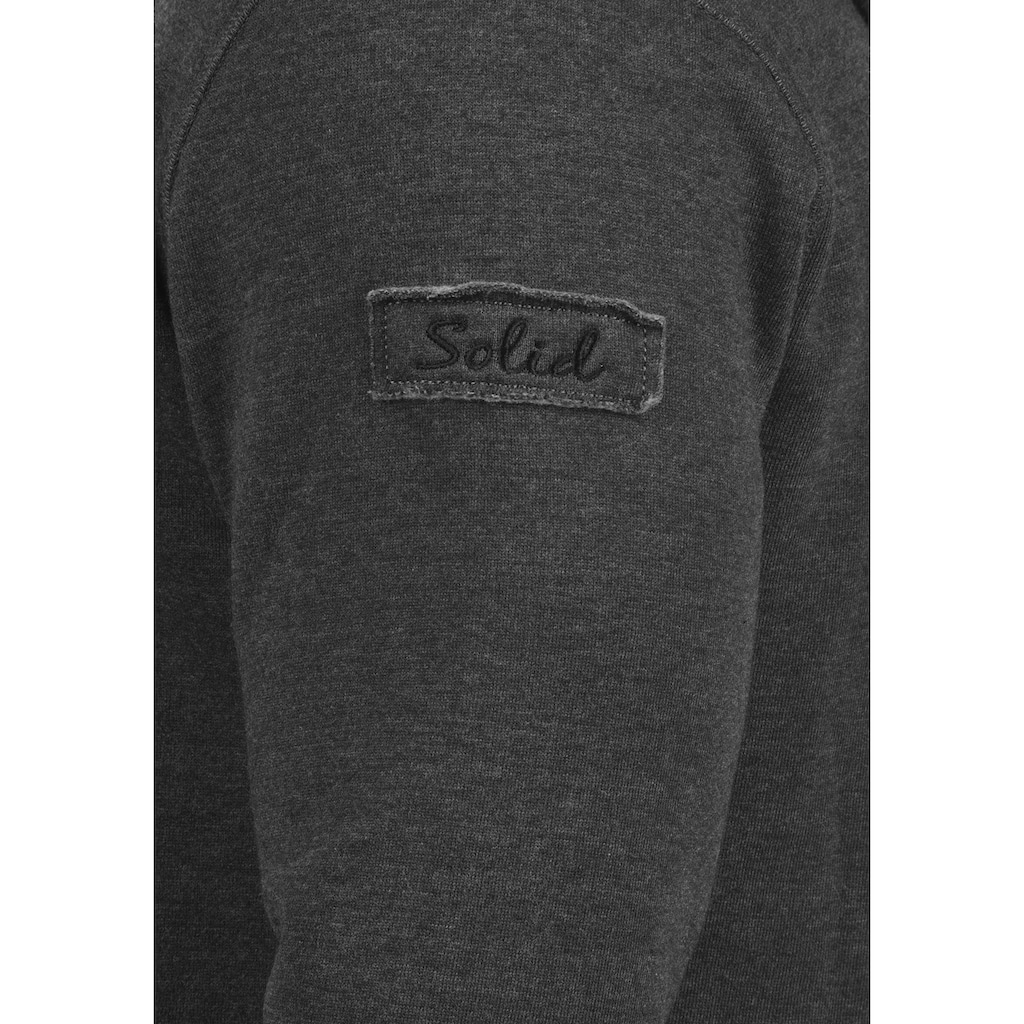 Solid Kapuzensweatjacke »Trip Tape Zip«, Sweatshirtjacke mit Kordel-Details