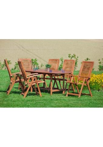 MERXX Gartenmöbelset »Cordoba«, 7tlg., 6 Sessel, Tisch, ausziehbar, klappbar, Eukalyptus kaufen