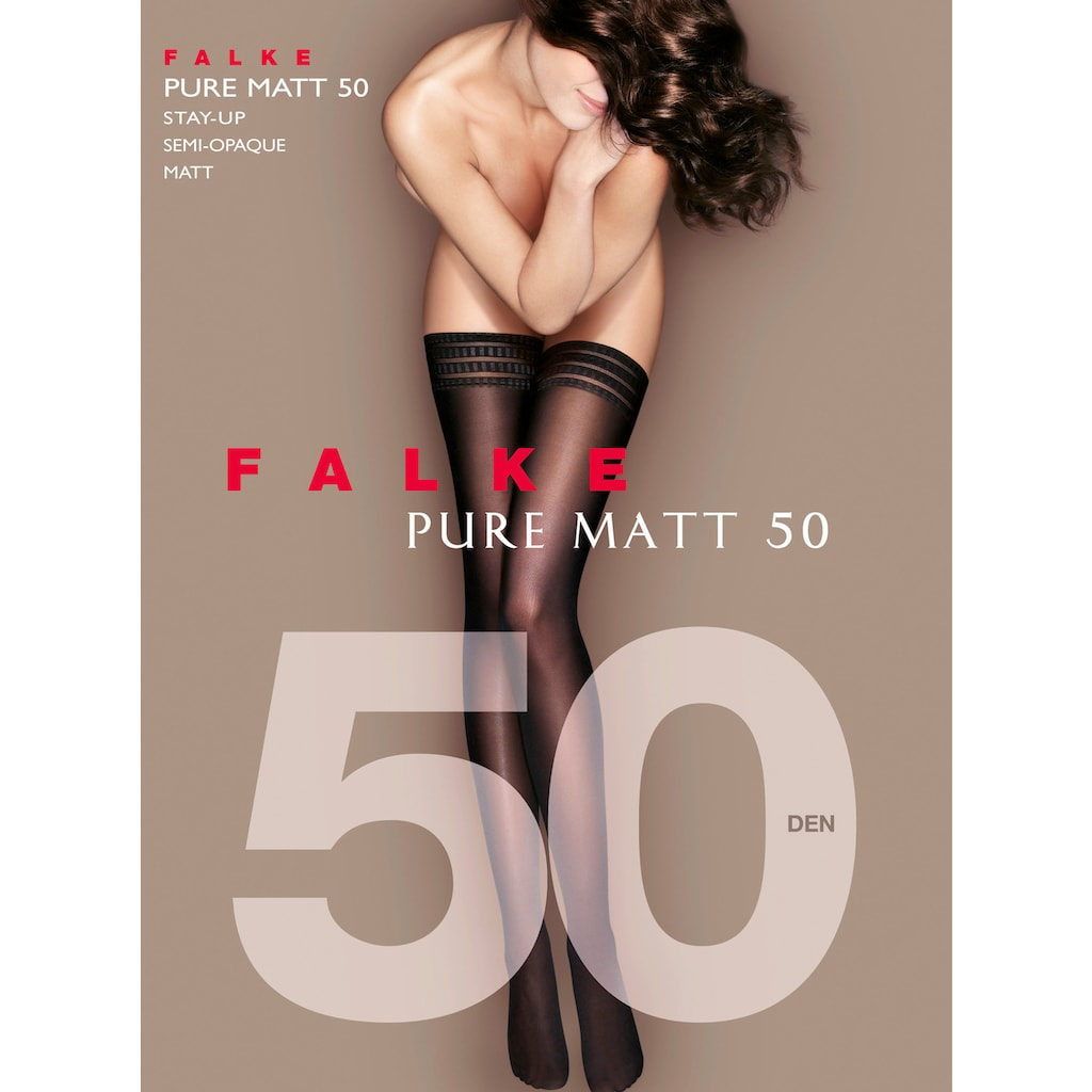 FALKE Halterlose Strümpfe »Pure Matt 50 den«, (1 Paar), mit graphischer Zierspitze