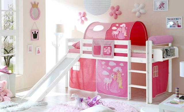 weißes halbhohes Bett mit Tunnel, Vorhänge und Rutsche