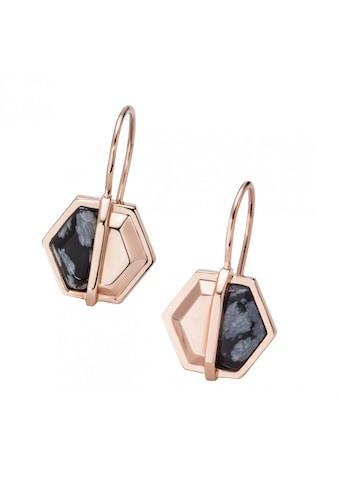 CAÏ Paar Creolen »925/ -  Silber rotvergoldet Hexagon Sechseck Obsidia« kaufen