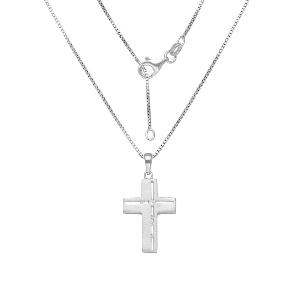 Firetti Kette mit Anhänger »Kreuz, Glaube, religiös, satiniert«, mit Zirkonia