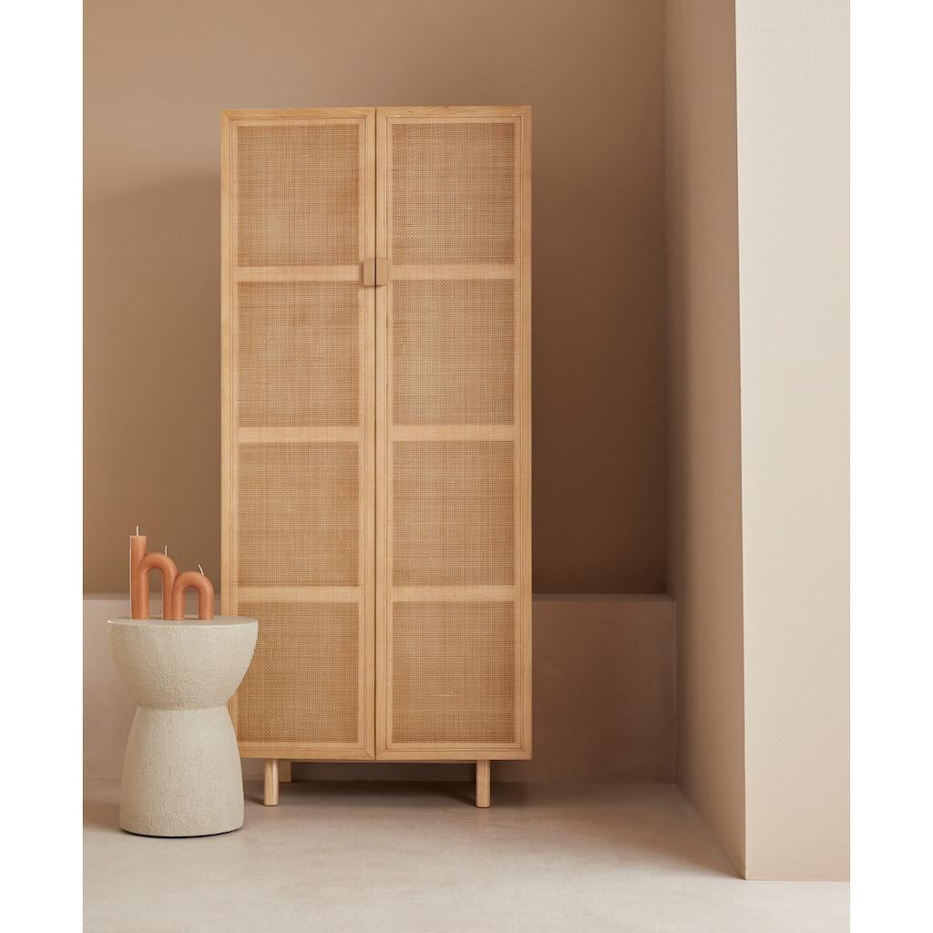 LeGer Home by Lena Gercke Highboard »Lina«, Mit Rattan Einsatz, 4 Innenfächer, teilmassiv