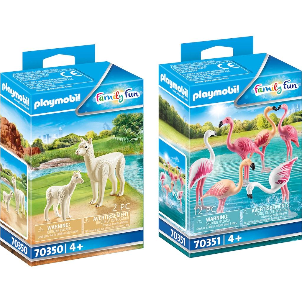 Playmobil® Konstruktions-Spielset »Alpaka mit Baby (70350) und Flamingoschwarm (70351), Family Fun«, (Set, 2 St.), Made in Europe