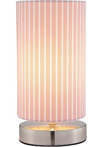Lüttenhütt Tischleuchte »Striepe«, E14, Tischlampe mit Streifen - Stoffschirm Ø 12 cm, rosa / weiß gestreift, Touch Dimmer kaufen
