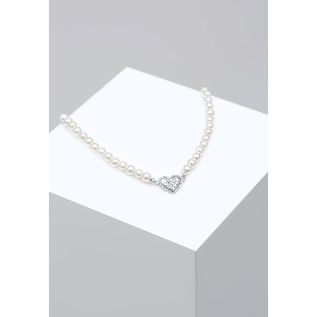 Elli Perlenkette »Choker Perle Herz Edelweiss 925 Silber«