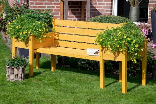 Gartenbank mit integrierten Blumentöpfen an beiden Seiten